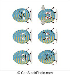 Light blue easter egg cartoon character with various angry expressions