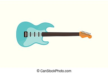 Light blue electric guitar, rock music instrument vector Illustration on a white background