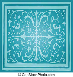 Light Blue Floral Luxury Ornamental