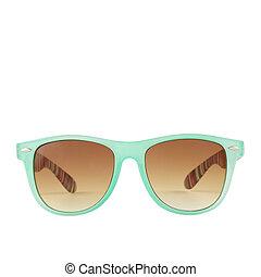 Light blue green sunglasses, shades, isolated. Women`s blue green sunglasses isolated on white background.
