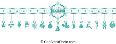 Light blue hanging Christmas ornaments banner with snowflake