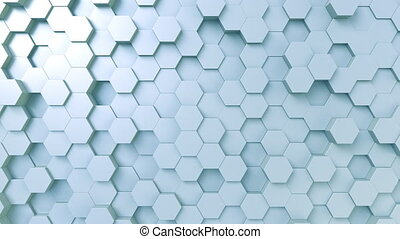 Light blue hexagonal surface - Abstract blue hexagonal...