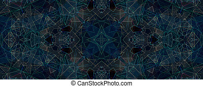 Light blue kaleidoscope background pattern, star and flower...