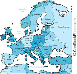 light blue map of europe