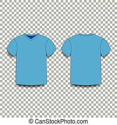 104849ea Green men's t-shirt template v-neck front and back side views. Green ...