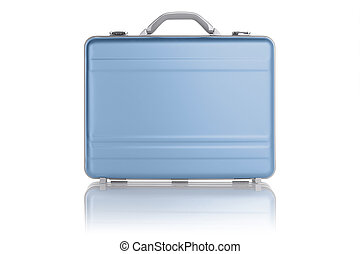 Light blue metal suitcase isolated on white background