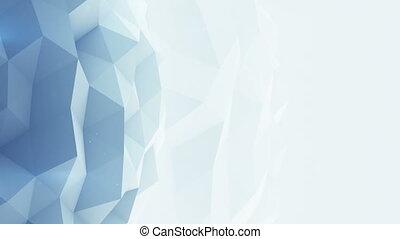 Light blue polygonal background seamles loop 3D render