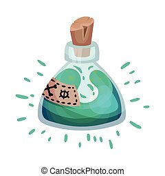 Light blue potion in a glass flask. Vector illustration on a white background.