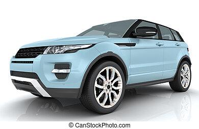 Light blue Range rover on white background