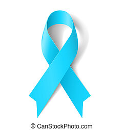Light blue ribbon as symbol of prostate cancer awareness, ...