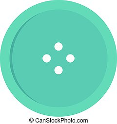 Light blue sewing button icon isolated
