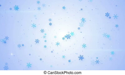 light blue snowfall seamless loop animation