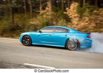 Light blue sport model car on the forest road