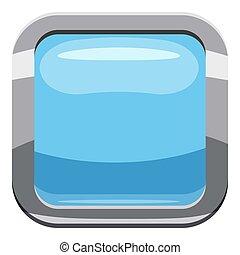 Light blue square button icon, cartoon style