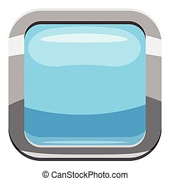 Light blue square button icon, cartoon style