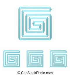 Light blue technology logo design set