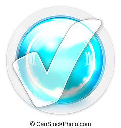 light blue tick check creative icon buton design