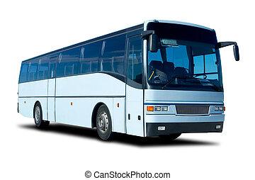 Tour Bus - Light Blue Tour Bus Isolated on White