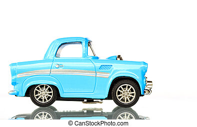 Light Blue Toy car on white background