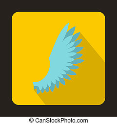 Light blue wing icon, flat style