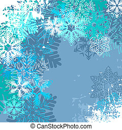 Light blue winter background with different snowflakes