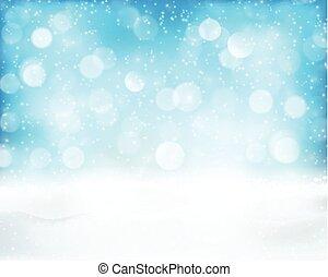 Light blue winter holiday bokeh background