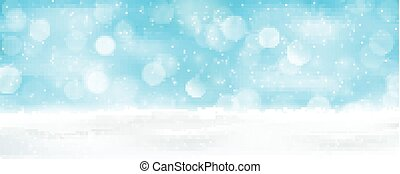 Light blue winter holiday bokeh background panorama