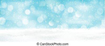 Light blue winter holiday bokeh background panorama