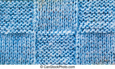 light blue wool background of knitted yarn, texture pattern knitted fabric