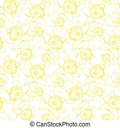 Light botanical seamless pattern with flowers Narcissus.