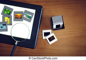 Light-Box - Top view of a light-box with color slides and a ...