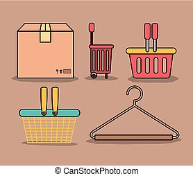 light brown color background with package and differents shopping baskets and hook closet shirt