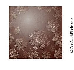 Light brown design with a set of golden snowflakes.