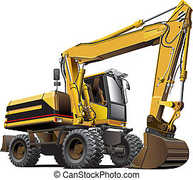 light-brown excavator - Detailed vectorial image of...