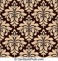 Light brown floral seamless pattern