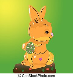 Light brown hare, holding an Easter egg in its paws, on a light green background,