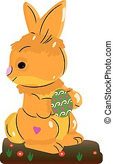 Light brown hare, holding an easter egg in its paws, on a white background,