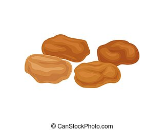 Light brown raisins on a white background. Realistic vector ...