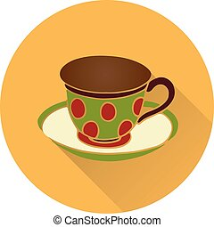 Light brown round flat icon, cup and saucer, on white background,