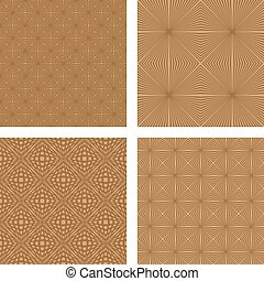 Light brown seamless pattern background set