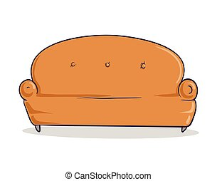 Light brown soft couch. Sandy-colored sofa with shadow....
