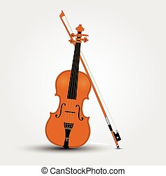 Light brown violin and bow