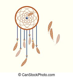 light brown wooden ethnic dream catcher with bird feathers blue and yellow beads isolated on white background