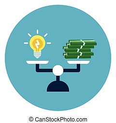Light Bubble And Money Stack On Scales Icon Web Button Isolated On Blue Round Background