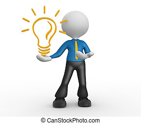 Light bulb - 3d people - man, person with a light bulb....