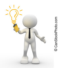 Light bulb - 3d people - men, person with light-bulb