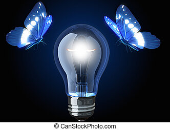 Light bulb and butterflies