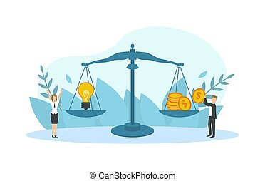 Light Bulb and Cash Money Scales, Business People Selling Creative Ideas, Patents, Idea is Money Concept Vector Illustration