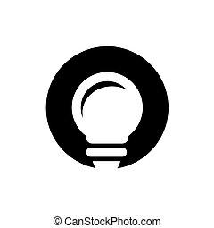 Light Bulb and Circle Shape Vector Logo , Letter O and Lightbulb Icon Design
