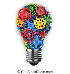 Light bulb and gears. Perpetuum mobile idea concept.